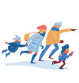family in warm clothes hurrying rushing running vector image vector image