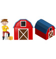 farmer and two red barns vector image vector image