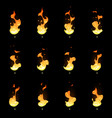 fire sprite sheet cartoon flame game vector image