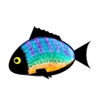 Fish colored silhouette on white background vector image vector image
