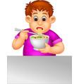 funny fat boy eatiing noodles cartoon vector image vector image