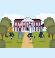 girls and boys jumping in the education university vector image vector image