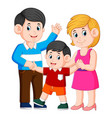 happy young family with one child standing vector image vector image