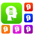hourglass in head set color collection vector image vector image