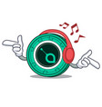 listening music siacoin mascot cartoon style vector image vector image