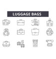 luggage bags line icons for web and mobile design vector image vector image