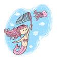 mermaid and jellyfish vector image