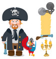pirate captain and parrot cartoon characters man vector image vector image