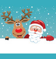 santa claus and rudolph deer vector image vector image
