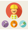 Set of flat style icons Builder - hammer trowel vector image