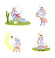 set of funny unicorn vector image vector image