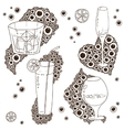 Set of Wine Glass On The Doodle Circular Pattern vector image