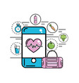 smartphone with heartbeat inside and healthy icons vector image