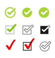 tick icons symbol set checkmarks vector image