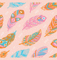 tribal feathers pattern in blue pink and orange vector image vector image