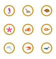 underwater animal icons set cartoon style vector image vector image