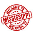 welcome to mississippi red round vintage stamp vector image vector image