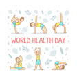 world health day banner template with guy vector image vector image