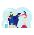 young milkmaid woman and man farmer in uniform vector image
