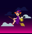 happy halloween little witch on a broom cute vector image