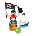 a set of on the pirate theme a man sitting on a vector image vector image