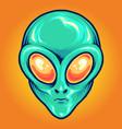 alien head cartoon mascot vector image vector image