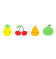 apple pear pineapple cherry icon set line yellow vector image