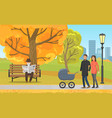 autumn park parents with pram and elderly man vector image vector image