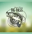 bass fishing emblem on blur background vector image vector image