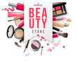 beauty store emblem with type design and cosmetics vector image vector image
