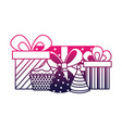 birthday cupcake gifts wrapped ribbon celebration vector image