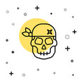 black line skull icon isolated on white background vector image vector image