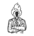 burning match businessman sketch engraving vector image vector image
