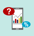 business graph with smart phone and icons 1 vector image vector image