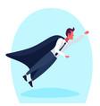 businessman dressed superhero black cloak flying vector image