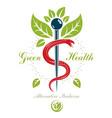 caduceus symbol healthcare conceptual logo vector image vector image
