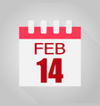 calendar 14 number of valentine39s day on gray vector image vector image
