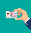car driver license identification card in hand vector image vector image