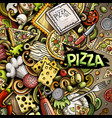 cartoon doodles pizza frame vector image