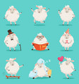 cute little sheep cartoon characters set for label vector image vector image