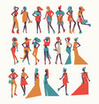 fashion girls in different apparel vector image