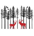 fir tree forest with reindeer vector image vector image