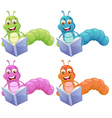 Four worms reading vector image