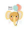 funny baby elephant with party balloons childish vector image
