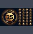 golden anniversary labels and emblems big set vector image vector image