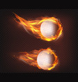 golf balls flying in fire realistic vector image vector image