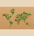 green wild animal recycled paper world map shape vector image vector image