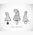 greeting christmas card with three ornated doodle vector image vector image