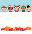 Group of children in costumes and Christmas gifts vector image
