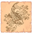 hand drawn outline koi fish with wave japanese vector image vector image